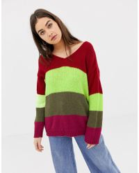 Daisy Street - Relaxed Jumper In Contrast Fluffy Knit Stripe - Lyst