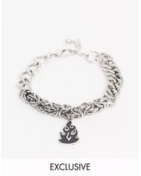 Reclaimed (vintage) Inspired Mixed Chain Bracelet With Flame Charm Exclusive To Asos - Metallic