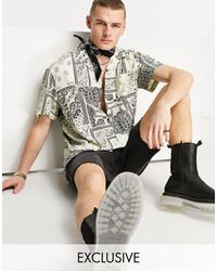 Reclaimed (vintage) Inspired – Hemd mit Reverskragen und Bandana-Muster, Kombiteil - Mehrfarbig