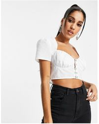 I Saw It First Milkmaid Eyelet Crop Top - White