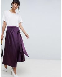 ASOS Midi Skirt With Tie Detailing - Purple