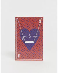 Pieces Sille Engraved You And Me Valentines Giftcard Necklace - Multicolour