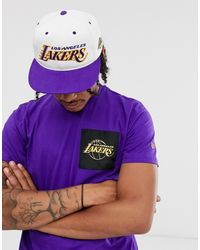 Mitchell & Ness La Lakers Team Script Throwback Snapback Cap In White