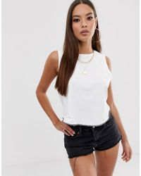 ASOS - Crop Swing Singlet With Overlocked Hem In White - Lyst