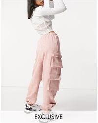 Missguided Textured Cargo jogger With Pocket Detail - Pink