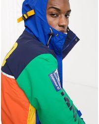 Polo Ralph Lauren Mckenzie - Parka impermeabile colorblock multi con cappuccio e stampa sul retro - Blu