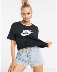 Nike – es, kurzes T-Shirt mit Futura-Logo - Schwarz