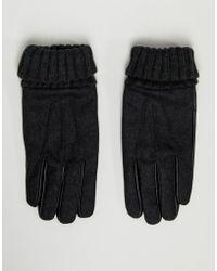 ASOS Guanti touchscreen in pelle con bordo elasticizzato in melton grigio