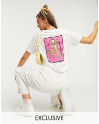 Daisy Street T-shirt décontracté à imprimé « Groovy chick » dans le dos - Blanc