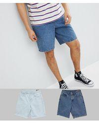 ASOS – Jeans-Shorts - Blau
