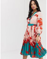 18aa50c491864e Ted Baker Camelis Fantasia Tiered Midi Dress in Red - Save 53% - Lyst