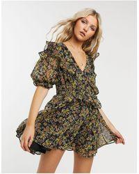 TOPSHOP Shirred Waist Mini Dress - Multicolor