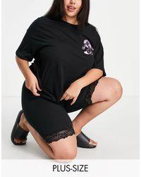 Brave Soul Barbie Lace Trim legging Shorts - Black