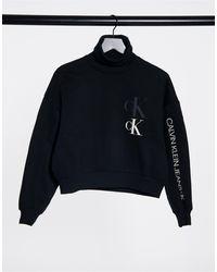 Calvin Klein Черный Свитшот С Отворачивающимся Воротом И Логотипом Спереди
