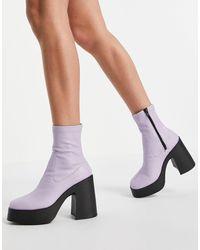 ASOS Elsie - Stivaletti a calza con tacco alto lilla - Viola