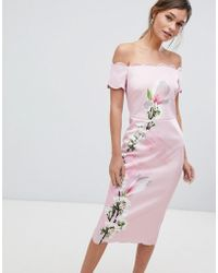 Ted Baker - Scalloped Bodycon Dress In Harmony Floral - Lyst