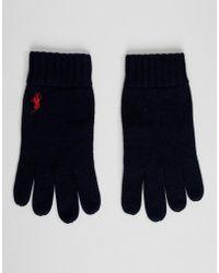 Polo Ralph Lauren Gants en maille ctele de laine mrinos avec logo joueur de polo - Bleu