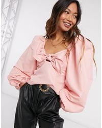 River Island Square Neck Bow Front Top - Pink