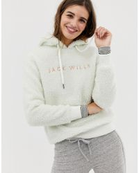 Jack Wills Fleece Hoodie With Embroidered Logo - White