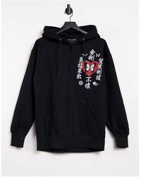 New Girl Order - Felpa con cappuccio oversize con zip e grafica di farfalla - Lyst