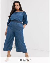 Simply Be Mono largo azul con escote Bardot y cintura fruncida