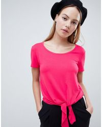 ONLY - Ena Bow Front Crop T-shirt - Lyst