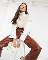 Vero Moda Кремовый Вязаный Жилет С Высоким Воротом Aware-белый - Естественный