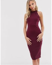 AX Paris High Neck Bodycon Dress-purple