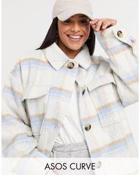 ASOS Curve Brushed Check Jacket - Blue
