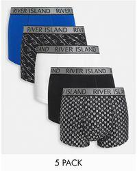 River Island Набор Из 5 Боксеров-брифов В Синих Тонах -голубой - Синий