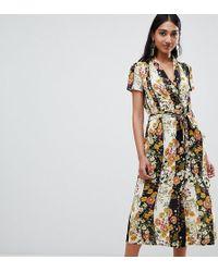 Mango Button Down Midi Dress In Dark Florals - Black