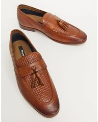 Dune Woven Leather Tassle Loafer - Brown