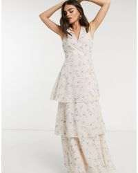 Y.A.S Midi Dress With Tiering And Racer Back Knot Detail - Multicolor