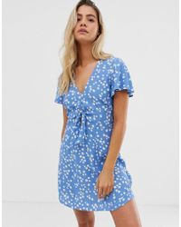 Jack Wills Erin Tie Front Dress In Print - Blue