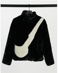 Nike Faux Fur Oversized Swoosh Jacket - Black