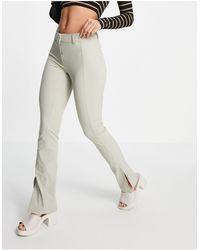 Weekday Daisy - Pantalon taille basse avec coutures sur le devant - Taupe - Multicolore