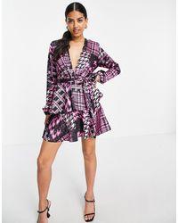 John Zack Exclusive Plunge Front Tiered Ruffle Mini Dress - Purple