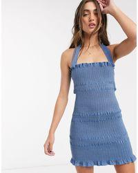 Capulet Linnea Smocked Denim Mini Dress With Removable Halterneck Strap - Blue