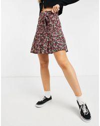 New Look Minigonna a fiori - Rosa