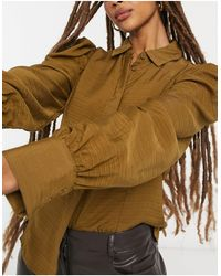 Vila Textured Shirt With Sleeve Detail - Brown