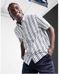 Weekday Louie Striped Shirt - Blue
