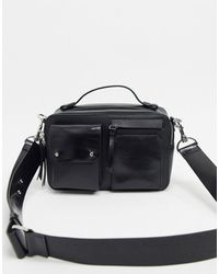 & Other Stories Leather Pocket Detail Cross-body Bag - Black
