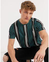 Brave Soul Vertical Stripe T-shirt - Green
