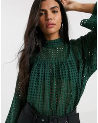 ASOS Long Sleeve Smock Top With High Neck - Green