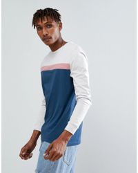 ASOS - Asos Long Sleeve T-shirt With Colour Block Panels And Cuff - Lyst