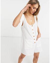 Fashion Union Эксклюзивный Белый Пляжный Ромпер На Пуговицах С Завязками На Плечах