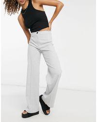 Bershka Slouchy Dad Wide Leg Tailored Pants - Grey