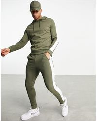 ASOS Organic Tracksuit With Hoodie & Side Stripe - Green