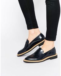SELECTED Femme Mira Navy Leather Loafer Flat Shoes - Black