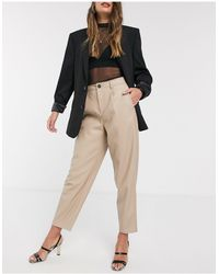 Mango Faux Leather Slouchy Trouser - Natural